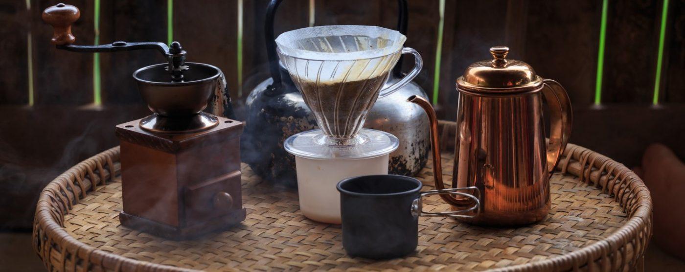 Set verschiedener Zubereitungsgsmethoden für Kaffee.